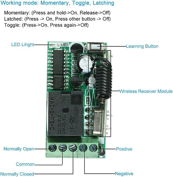OWSOO Control Remoto Universal Módulo de Receptor RF 433Mhz DC 12V ...