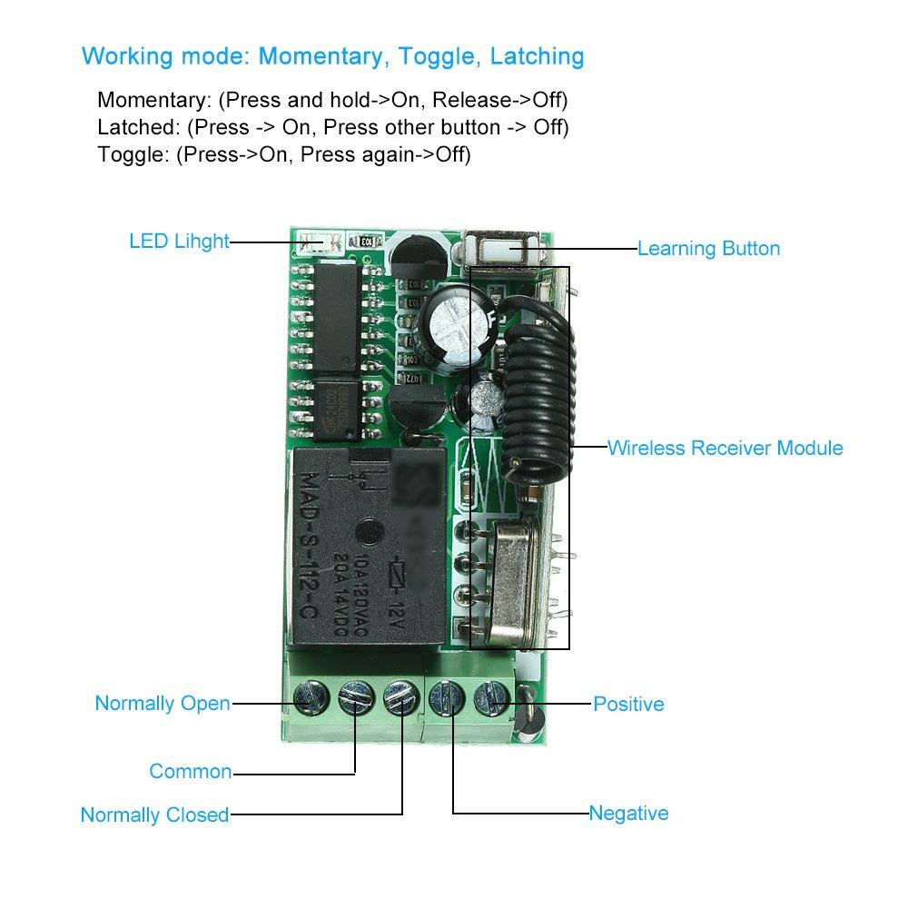 5PCS RF 433 MHz Mandos a Distancia del Transmisor 1527 Chip OWSOO Control Remoto Universal M/ódulo de Receptor RF 433Mhz DC 12V Mini 1CH Inal/ámbrico Interruptor de Control