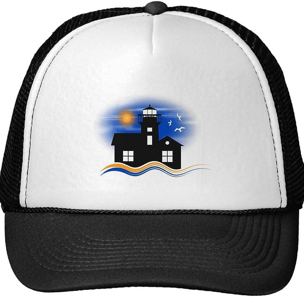 Smity 106 Blue Black Lighthouse Seascape Silhouette Cap Trucker Hat