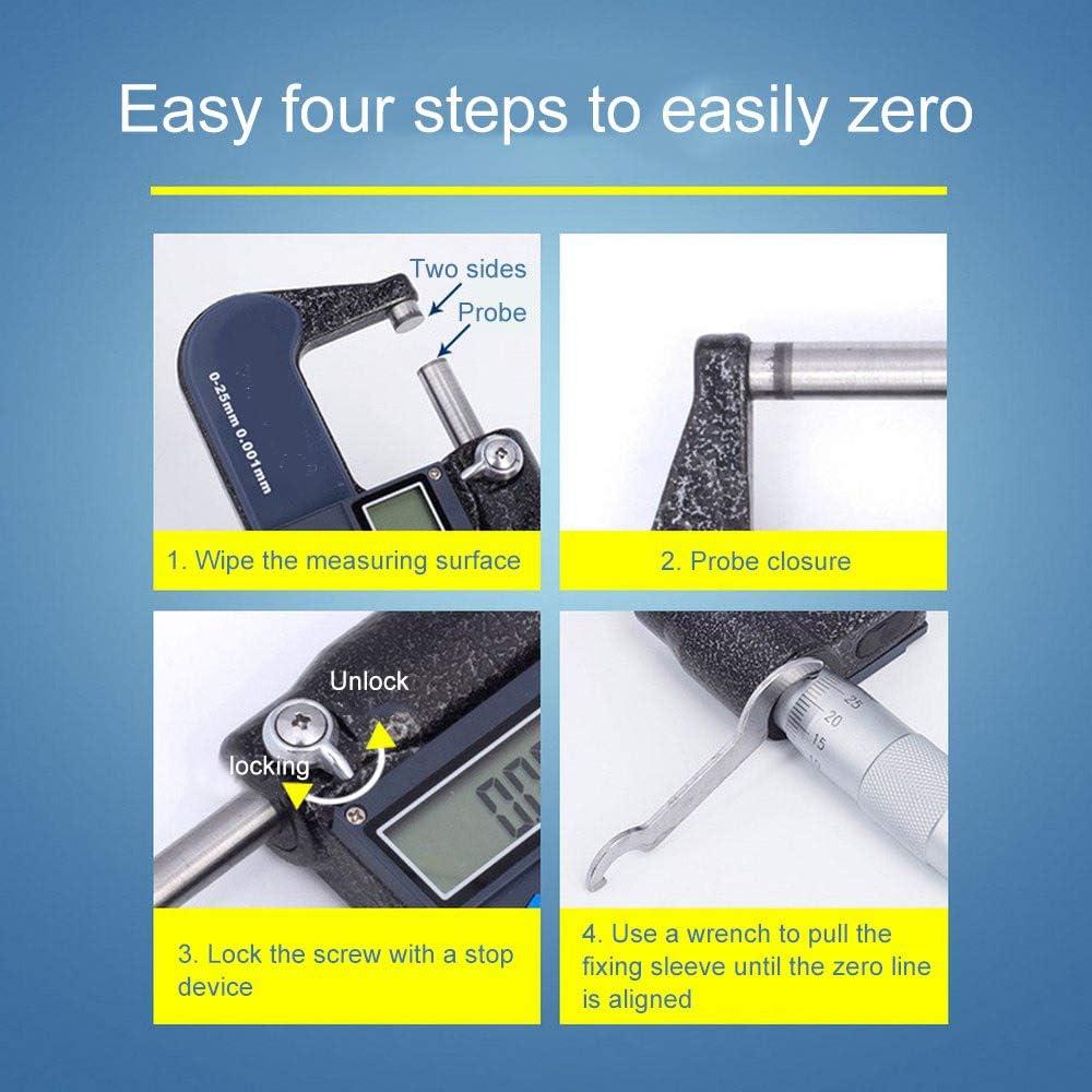 JIRCA Electronic Digital Micrometer 50-75mm 0.001mm Metric//Inch Electronic Outside Micrometer Carbide Tip Measure Tools