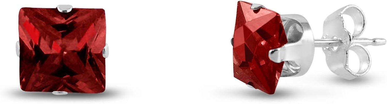 Kezef 7 x 7 mm cuadrado rojo con circonitas granate, 925 Broche de plata de ley Juego de pendientes de tuerca