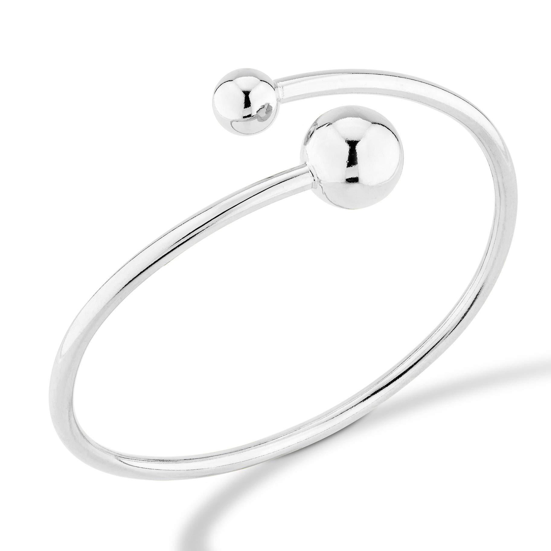 MiaBella 925 Sterling Silver Italian Flexible Bypass Bead Ball Bangle Bracelet Jewelry Women 7'' 7.5'' 8'' (Large (7.75'' to 8''))