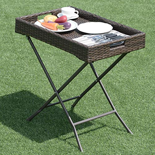 Wenst'sKufAN Wicker Table Portable Folding Outdoor Patio Wicker Rattan Sofa Side Tray Table Display Stand, Perfect for The Beach, Camping, Picnics, Cookouts and More