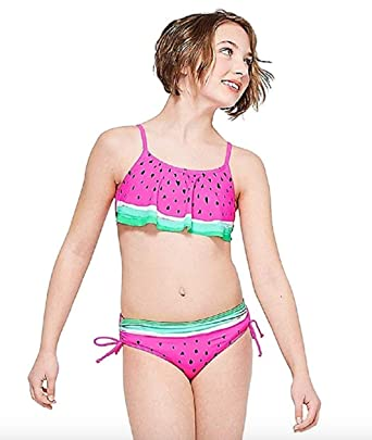 f9112fadc60 Amazon.com: Justice for Girls Watermelon Flounce Bikini Swimsuit ...