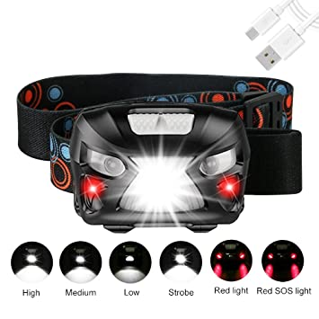 Linterna Frontal LED USB Recargable GRDE Sensor de Movimiento Linterna Cabeza 300 Lúmenes y 6 Modos