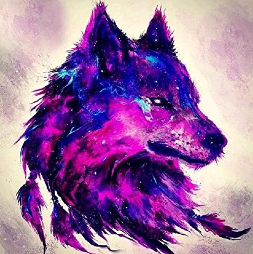 Purple Wolf - DIY 5D Diamond Painting by Number Kits Round Drill Rhinestone Cross Stitch Picture Craft for Home Wall Decor 12x12In Purple Wolf