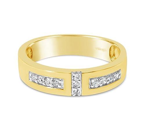 Diamantes de oro amarillo conjunto de anillo de bodas/banda de eternidad con 0.15cttw
