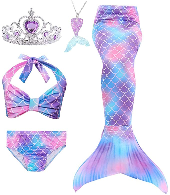 Sparkle Scale Mermaid Tail Kids Girls Cos Gift Bikini top Monofin not Included