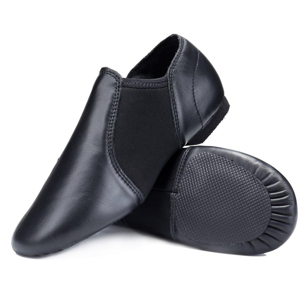 STELLE Premium Leather Slip-On Jazz Shoes for Women Men Adults (9M US Women, Black)