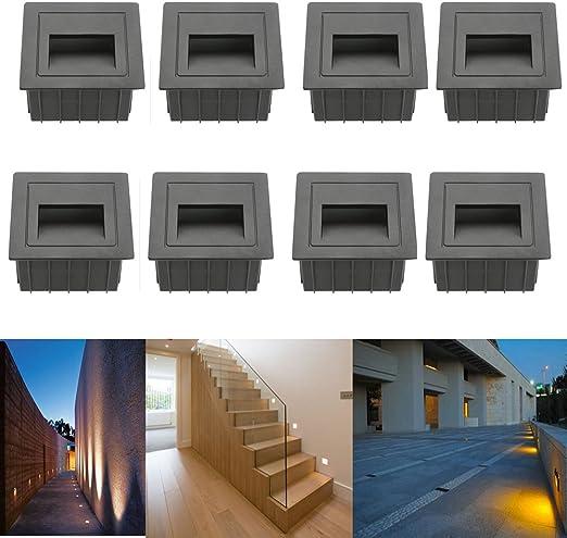 subosi fvtled LED Escaleras Luz Aluminio 230 V 2 W Cristal apliques luz escaleras con cajetín Escaleras Luz Lámpara de pared IP65: Amazon.es: Iluminación