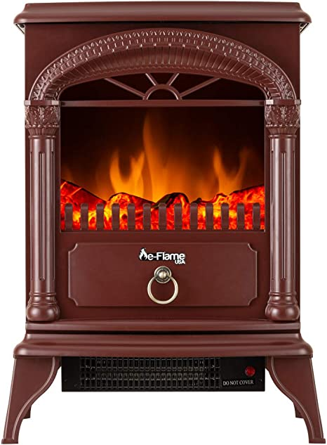 Hamilton Free Standing Electric Fireplace Stove 22 Inch Red Portable Electric Fireplace With Realistic Fire And Vintage Logs Adjustable 1500w 400 Square Feet Space Heater Fan Amazon Ca Home Kitchen