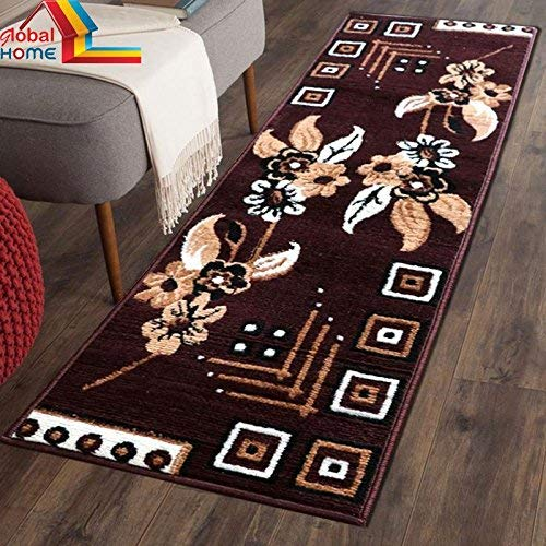 Global Home Classy Look Carpet Runner for Hall -22X55 Inch – Brown