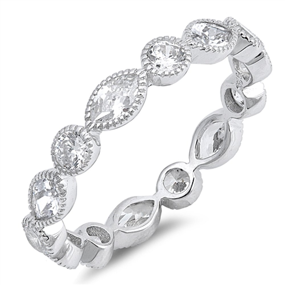 Clear CZ Eternity Stackable Wedding Ring New 925 Sterling Silver Band Size 6