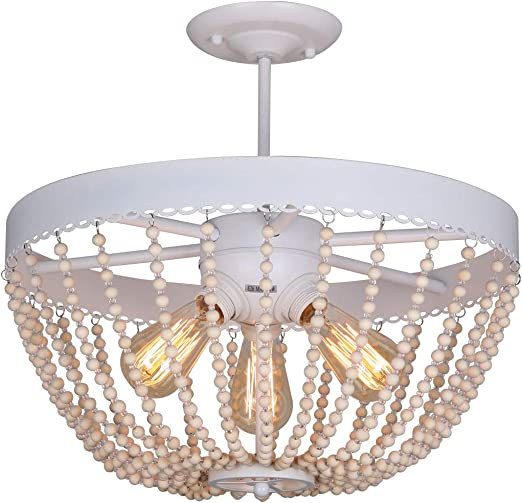 Unitary Brand Rustic White Metal And Wood Bead Decoration Semi Flush Mount Ceiling Light With 3 E26 Bulb Sockets 120w Painted Finish