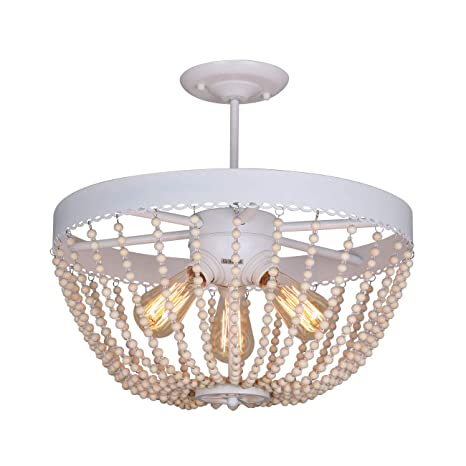Unitary brand rustic white metal and wood bead decoration semi flush unitary brand rustic white metal and wood bead decoration semi flush mount ceiling light with 3 aloadofball Choice Image