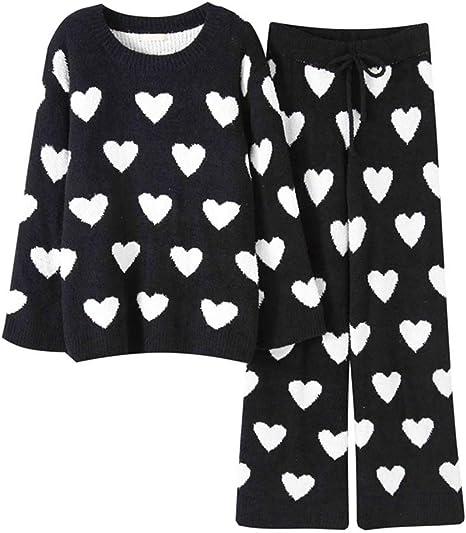Pijamas de algodón para Mujer Vestidos caseros para el otoño y el Invierno Pijamas Suaves de Manga Larga con Forma de corazón Conjunto de Dos Piezas (Color : Black+White, Size : L):