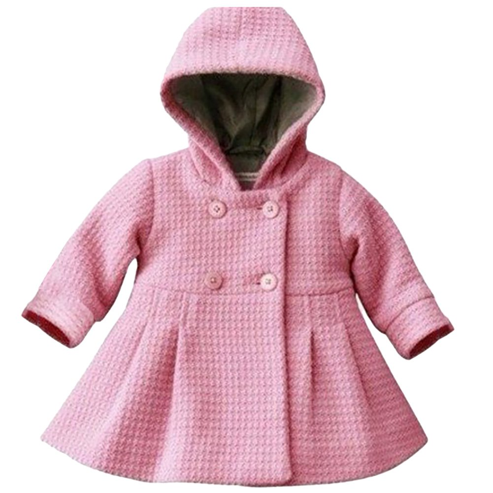 LSERVER Babay Girls Hooded Warm Wool Cotton Jacket Trench Coat Outwear Pink 80 by LSERVER (Image #1)