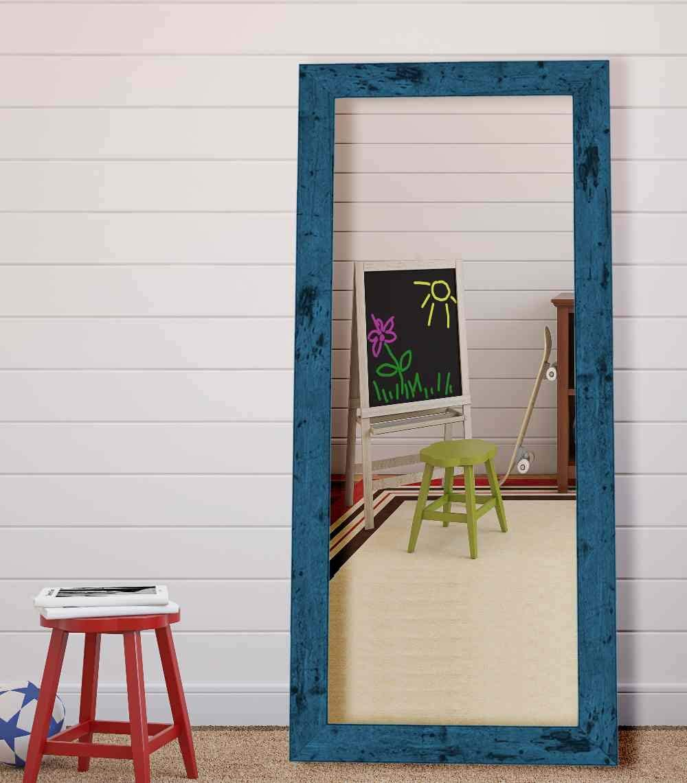Hitchcock Butterfield Dorian Vintage Barnwood Transitional Blue Framed Wall Mirror, 21.75 W x 57.75 H