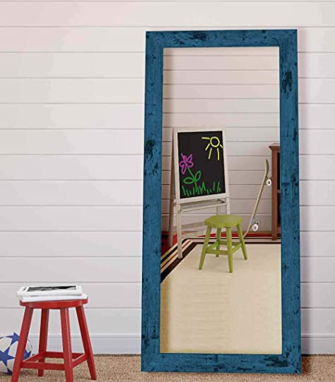 Hitchcock Butterfield Dorian Vintage Barnwood Transitional Blue Framed Wall Mirror