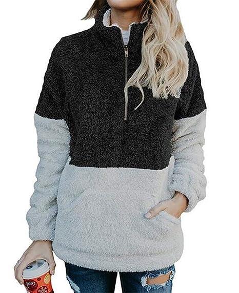 6f8b3ff7 BYWX Women Color Block Sherpa Zipper Pockets Fleece Pullover Sweaters Tops
