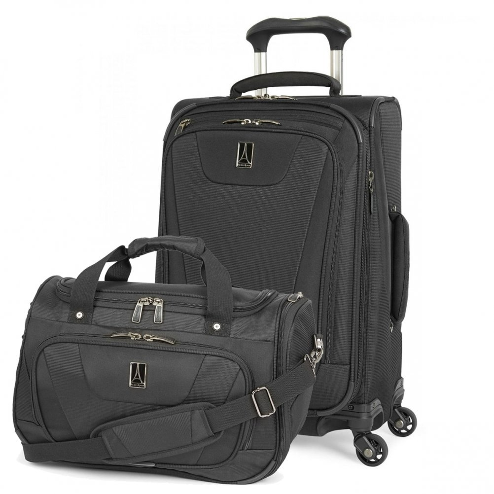 Travelpro Maxlite 4 Expandable 21 Inch Spinner Suitcase (Black with Soft Tote) by