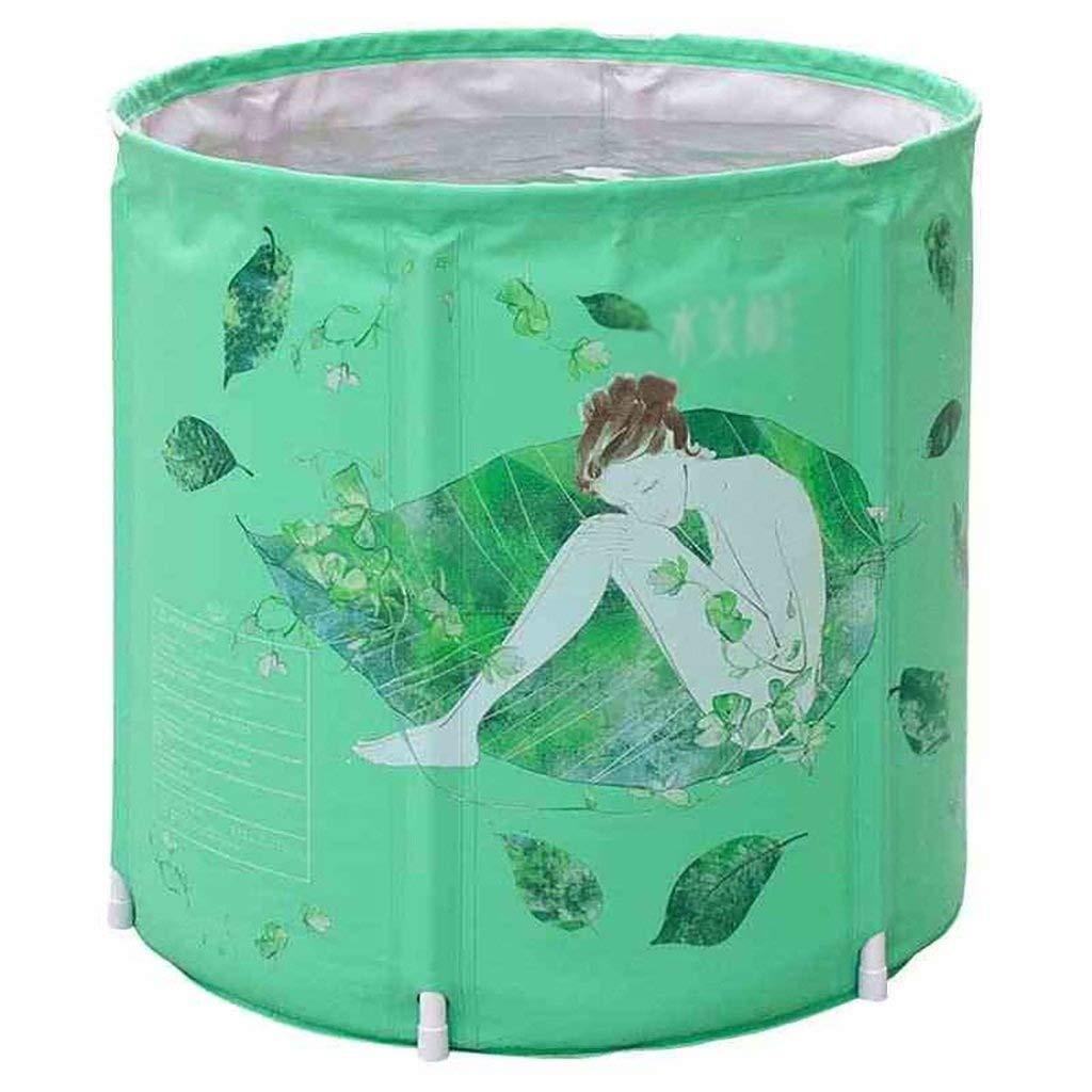 Bathtub, Inflatable Bathtub Thicken Adult Folding Bathtub Children Household Plastic Bathtub, 2 Sizes GAOFENG (Color : Green, Size : 7070cm)