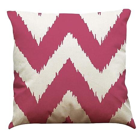 Lihan Funda de Almohada Onda geométrica Imprimiendo Fundas de cojín Cuadrado decoración sofás Dormitorio Deco Auto Throw Decoracion, Rosa roja 45 * ...