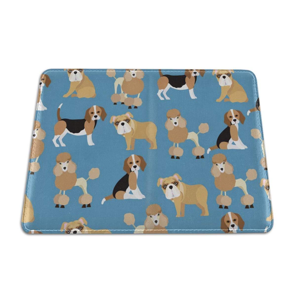 Cute Pet Dog Pattern Genuine Leather Passport Holder Travel Wallet