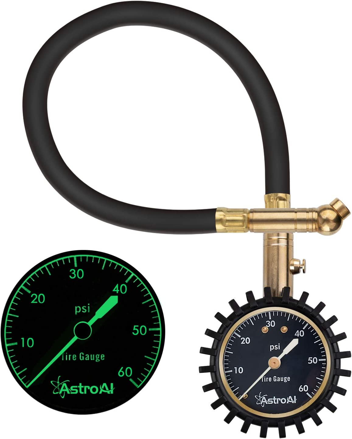 Certified ANSI B40.1 Accurate with Improved Needle and Chuck 0-60 PSI AstroAI Tire Pressure Gauge Expert