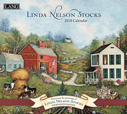 """LANG - 2018 Wall Calendar - """"Linda Nelson Stocks"""", Artwork by Linda Nelson Stocks - 12 Month - Open 13 3/8"""" X 24"""""""