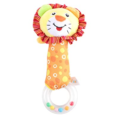 NUOBESTY Baby Rattles Plush Lion Animal Grab and Spin Hand Rattle Shaking Bell Soothing Toys Handbell Infant Gift Newborn Favors: Toys & Games