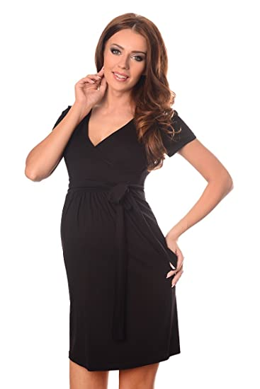 6b68b593434241 Purpless Maternity Cocktail V Neck Pregnancy Dress with Belt 5416   Amazon.co.uk  Clothing