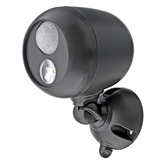 Mr  Beams MB360 Wireless Weatherproof Battery Operated 140 Lumens LED  Spotlight with Motion Sensor and Photocell, Dark Brown