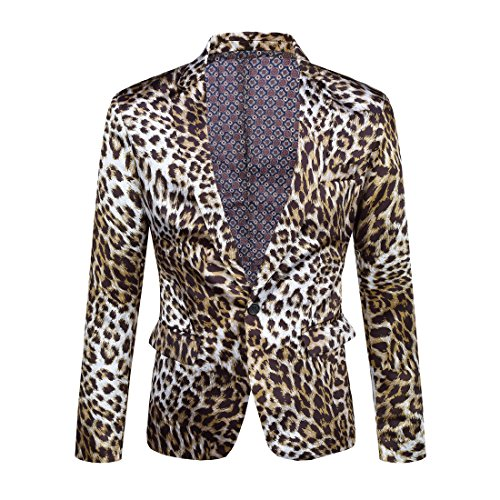 CARFFIV Mens Fashion Colorated Floral Print Suit Jacket Casual Blazer (Leopard, L/42R)