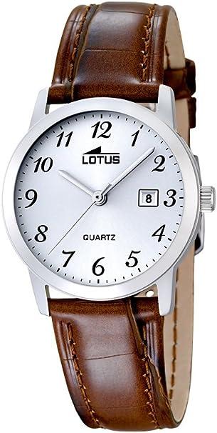 Lotus 1824/02 - Reloj de Cuarzo para Mujer, Esfera Blanca analógica y Correa de Cuero marrón