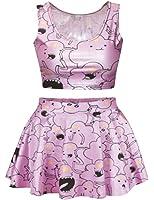 Ninimour Fashion Digital Eindruck Reversible Crop Top + Mini Rock 2 Stück altmodisch Klub Party Kleider