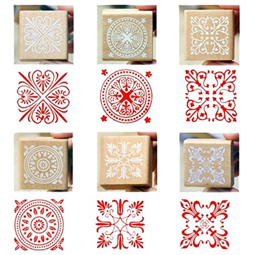 Wood Rubber Stamps, 6 Pcs Square Lace Pattern Stamps - Polymer For Rubber Clay Stamps