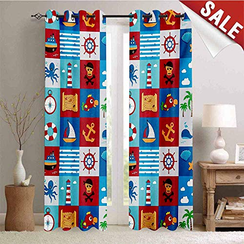Hengshu Kids Blackout Draperies for Bedroom Cartoon Style Nautical Icons and Animals Maritime Sea Life Pirates Joyful Collection Thermal Insulating Blackout Curtain W108 x L108 Inch Multicolor