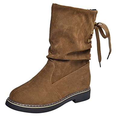 Beikoard Mujeres Damas Invierno Shoes Mid-Becerro Botas De Nieve Calzado Zapatos Calientes,Polar Botas De Nieve Caliente Shoes Botas Mid-Tubo Botas De ...