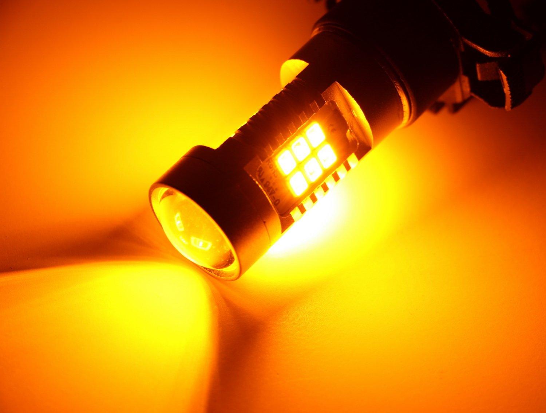 b80b2b224441 Amazon.com  iJDMTOY (2) Amber Yellow Error Free 21-SMD PY24W 5200s LED Bulbs  For BMW Front Turn Signal Lights