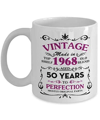amazon com happy 50th birthday mugs for mom 1968 11 oz vintage