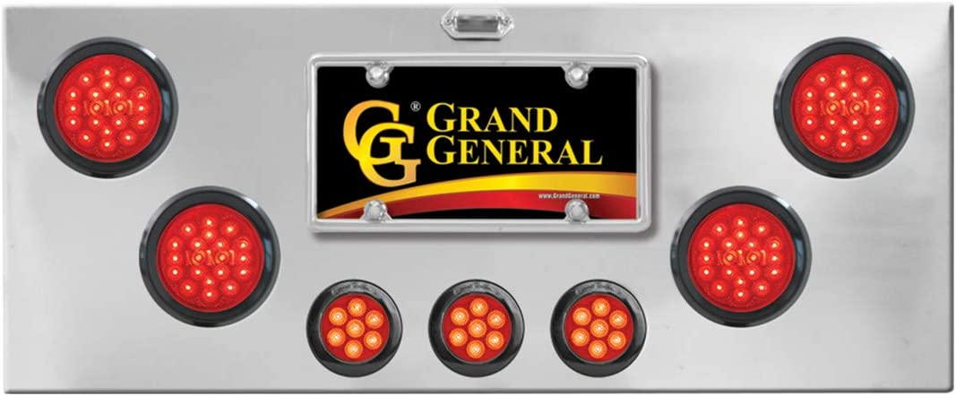 GG Grand General 91583 Red//Red Chrome Plated Rear Light Panel with 4 inches and 2-1//2 inches Spyder LED U Bracket