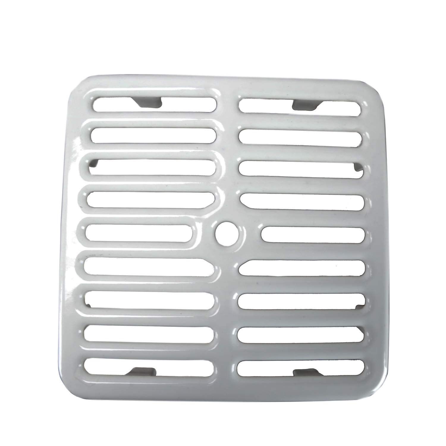 """GSW Cast Iron Porcelain Floor Sink Top Grate with Ceramic Surface FS-TF, 9-⅜"""" x 9-⅜"""" x 1-¼"""" - Perfect for Restaurant, Bar, Buffet (Full Size)"""