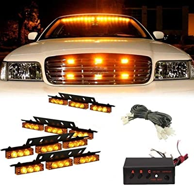 36x LED 3 Flashing Modes Vehicle Windshield Dash Deck Grille Strobe Flash Emergency Warning Strobe Light Bar For Truck, Law Enforcement, Police, Firefighter, EMS, Ambulance -1 pack (yellow): Automotive
