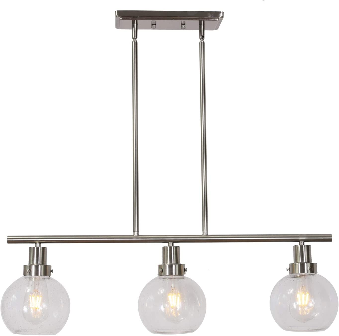 ELUZE 3-Light Industrial Pendant Lighting Modern seeded Glass Ceiling Light with Brushed Nickel Pendant Light for Kitchen Dining Room Bedroom Coffee Shop Bar Foyers