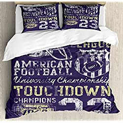 Ambesonne Sports Duvet Cover Set Queen Size, Retro Style American Football College Theme Illustration Athletic Championship Apparel, Decorative 3 Piece Bedding Set with 2 Pillow Shams, Purple