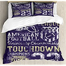 Ambesonne Sports Duvet Cover Set King Size, Retro Style American Football College Theme Illustration Athletic Championship Apparel, Decorative 3 Piece Bedding Set with 2 Pillow Shams, Purple