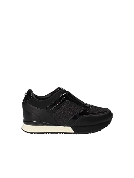 2ac0e3fd5 Tommy H. Elastic Wedge Black FW0FW03553  Amazon.co.uk  Shoes   Bags