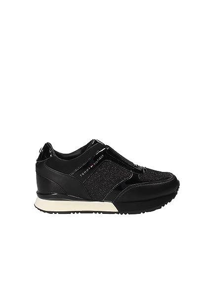 48e52e10a Tommy H. Elastic Wedge Black FW0FW03553: Amazon.co.uk: Shoes & Bags