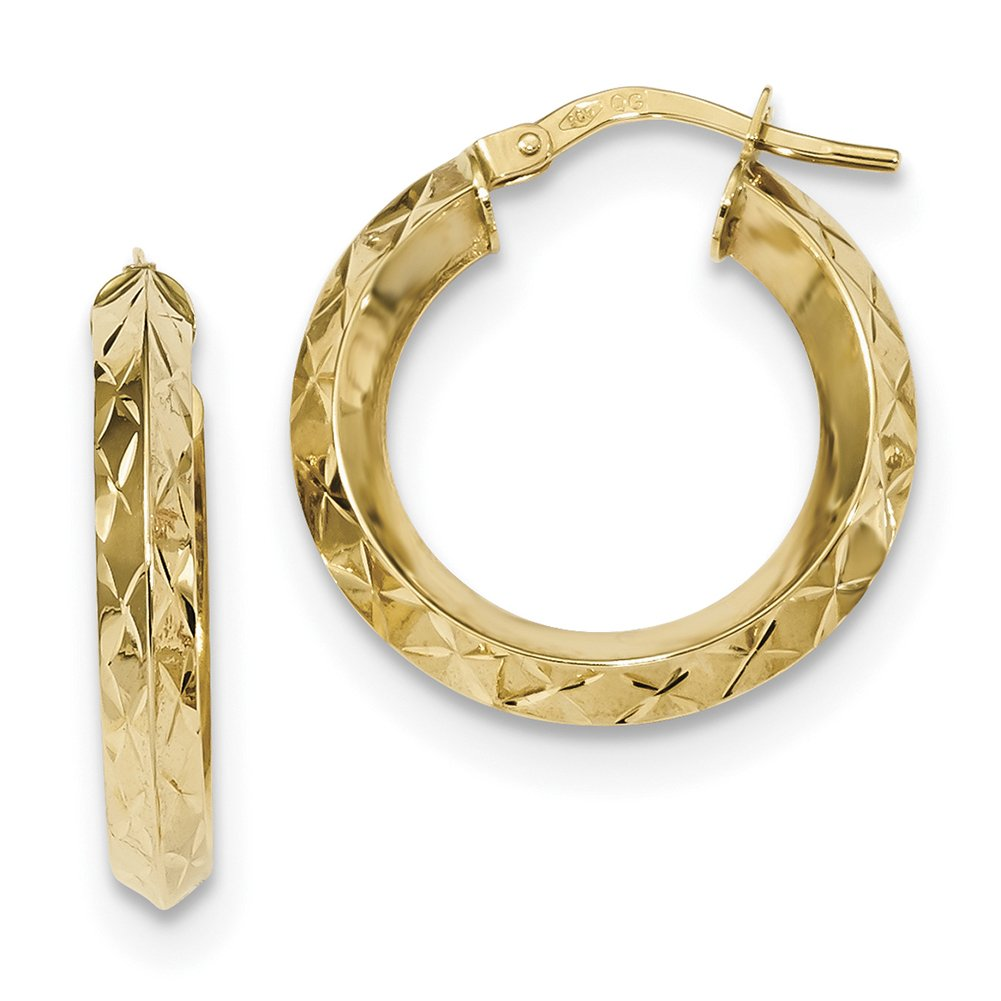 14k Yellow Gold Polished D/C Hoops TF1204